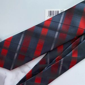 Checkered Gray Red Tie NWT